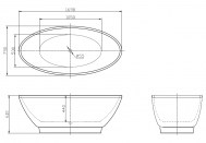 Overton Free Standing Bath 1690 x 790 x 600 Specifications